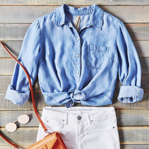 How to Style White Jeans: Chambray Shirt