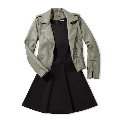 Business Casual Dress Code: Dress & Moto Jacket