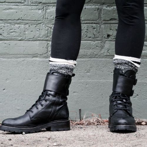 socks with boots: moto boots and leggings