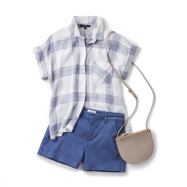 Preppy Spring Style: plaid button-down + chino shorts