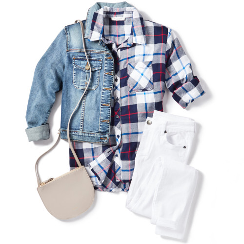 How to Style White Jeans: Plaid Shirt