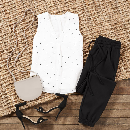 Dressy Casual Dress Code: Polka Dot Top + Joggers