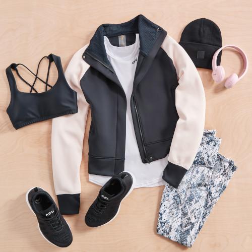 athleisure workout activewear bomber jacket