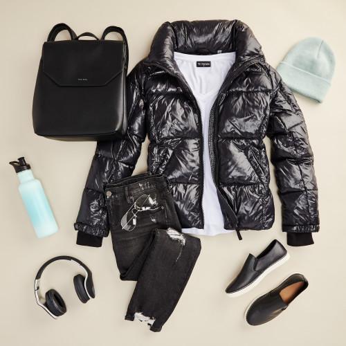 winter layering: puffer jacket