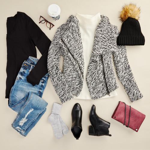 winter layering: sweater jacket