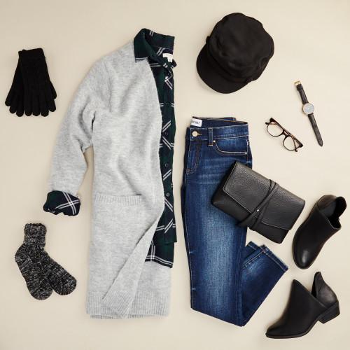 winter layering: long cardigan