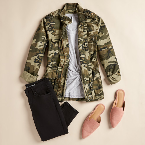 winter outfits: camo jacket