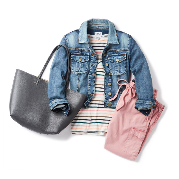 Preppy Style for Spring: colored pants + denim jacket